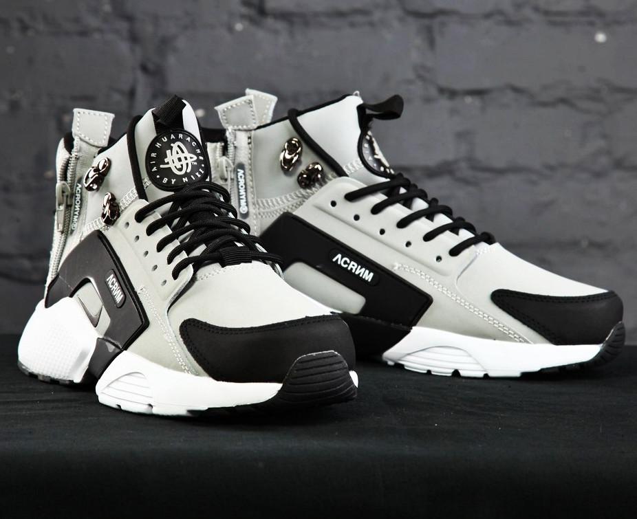 Мужские демисезонные кроссовки в стиле Nike Huarache Acronym Concept Grey серые