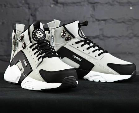 Мужские демисезонные кроссовки в стиле Nike Huarache Acronym Concept Grey серые, фото 2