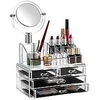 Акриловый органайзер для косметики Acrylic Cosmetic Organizer 4 секции с ЗЕРКАЛОМ