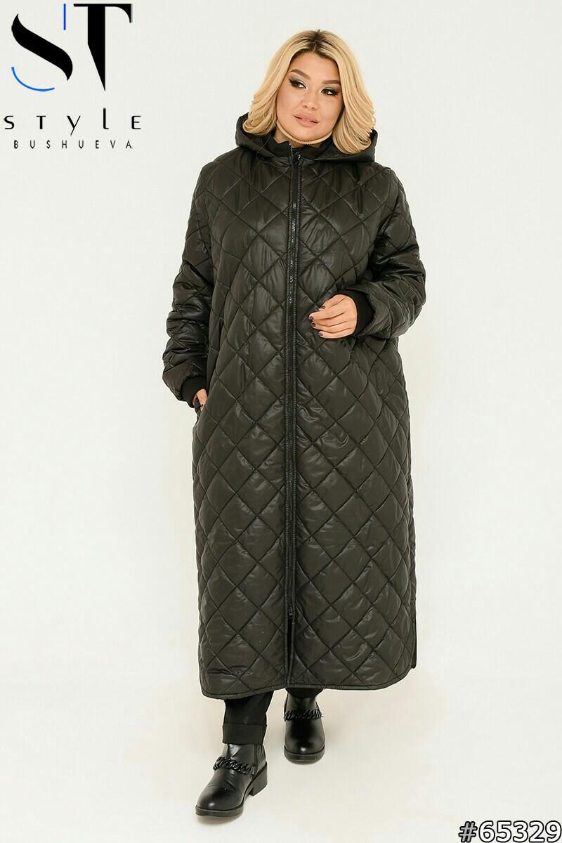 Длинное зимнее пальто стеганое на синтепоне
