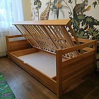 """Односпальная кровать """"Тахта"""" - Дюпон в лаке с подъёмным механизмом, массив ольхи"""