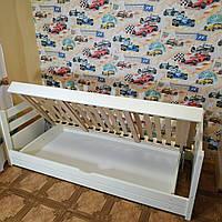 """Односпальная кровать """"Тахта"""" - Маркус белая с подъёмным механизмом, массив ольхи"""