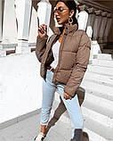 Осенняя короткая куртка женская черная красная бежевая серая белая горчица какао 42 44 46 дутая стиль стеганна, фото 3