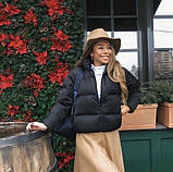 Осенняя короткая куртка женская черная красная бежевая серая белая горчица какао 42 44 46 дутая стиль стеганна, фото 6