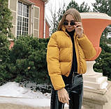 Осенняя короткая куртка женская черная красная бежевая серая белая горчица какао 42 44 46 дутая стиль стеганна, фото 7