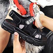 Женские трендовые сандалии\босоножки в стиле Gucci Sandals Black Черные