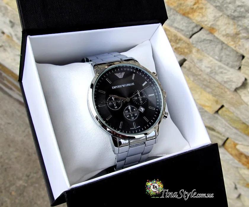 МЕГАХІТ ! Живі фото! Чоловічі кварцові золотий годинник Emporio Armani копія під Tissot i Omega РЕПЛІКА