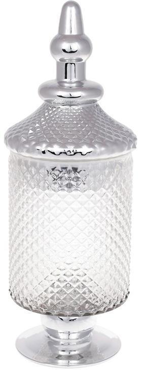 Банка Шевалье 12.5х13.5х37.5см стеклянная с серебром