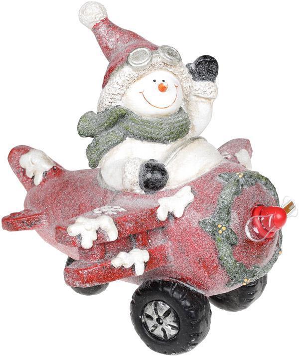 Декор «Снеговик в красном самолете» с LED подсветкой, керамика, 37.5х33х34.5см