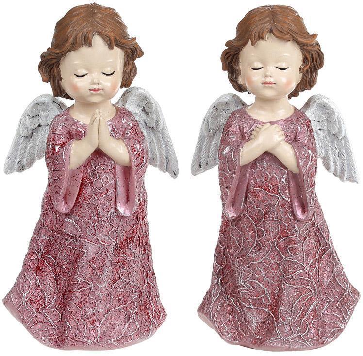 "Набор 2 декоративных статуэтки ""Ангел Тиффани"" 8.5х6х16.5см, полистоун"