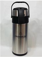 Термос з нержавіючої сталі вакуумний з помпою Crownberg CB-5L 5 л Black/Steel, фото 1