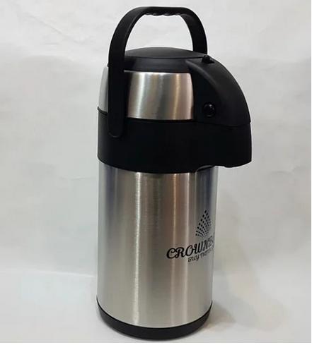 Термос з нержавіючої сталі вакуумний з помпою Crownberg CB-3L 3 л Black/Steel