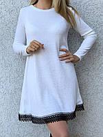 Платье женское с кружевом теплое батал. Цвет чёрный, белый, светлая пудра. Размер 50-52.