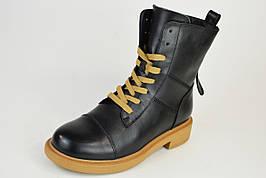 Ботинки на бежевой подошве Berkonty 89085 черные кожа