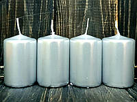 Набор свечей цилиндр d4 h6 см серебро
