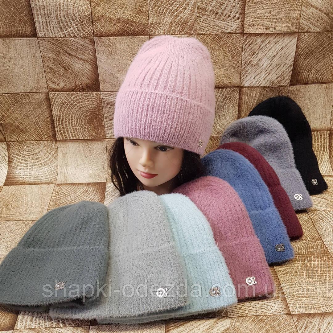 Молодежная шапка на флисе с подворотом.Нитка альпака Подросток,женская