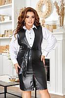 """Сарафан жіночий полубатальный з еко-шкіри, розміри 50-56 """"BONJOUR"""" недорого від прямого постачальника"""