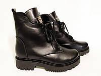 Женские ботинки кожаные на завышенной подошве платформе зимние