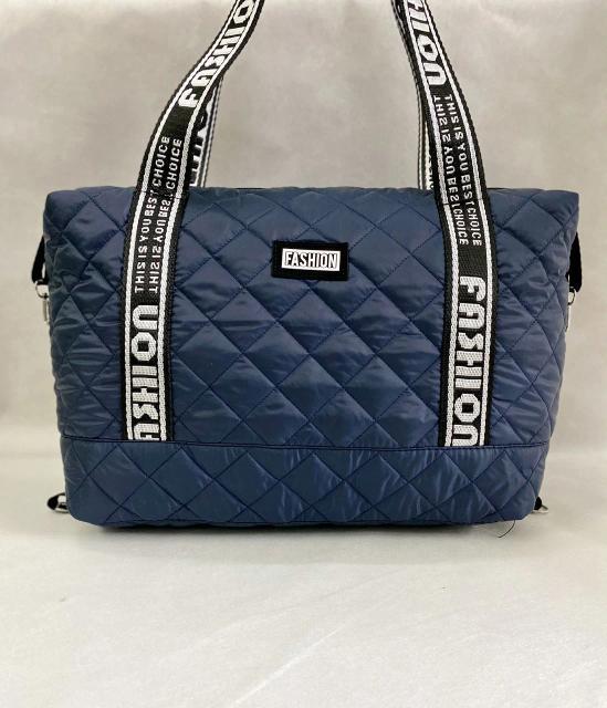 Стеганая женская сумка дутая . Синяя