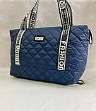 Стеганая женская сумка дутая . Синяя, фото 3