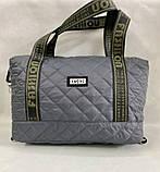 Стеганая женская сумка дутая . Серая, фото 3