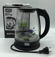 Стекло электрического чайник  (цветок) OPERA OP-820 BLACK  FLOWER (12шт)