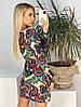 """Облегающее комбинированное мини-платье """"Бута"""" с длинным рукавом, фото 3"""