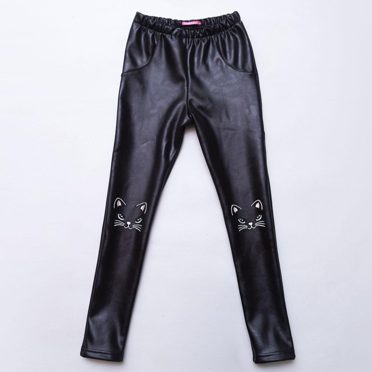 Лосины для девочки кожаные р.134,140 на меху SmileTime Leather Kitten, черные