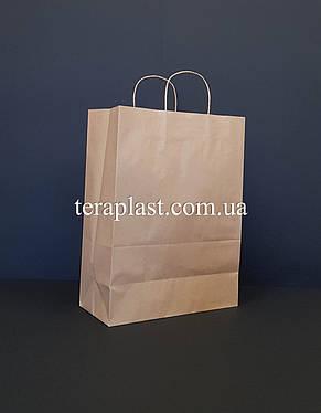 Бурый бумажный крафтовый пакет с ручками 280х150х380, фото 3