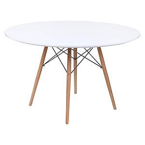 Стіл Тауер Вуд, дерев'яний, бук, діаметр 120 см, колір білий