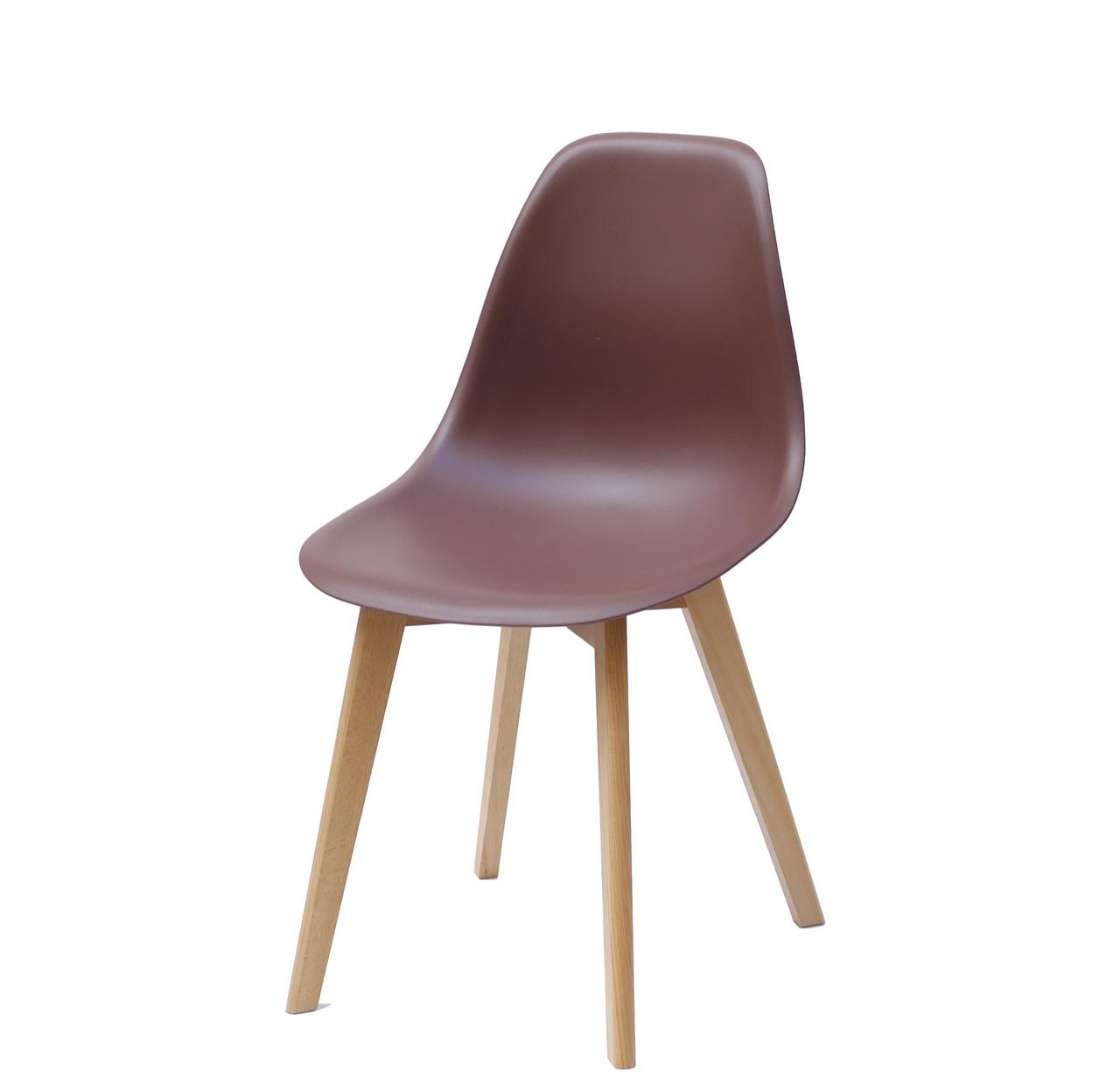 Шоколадный стул на кухню, гостиную, пластиковое сиденье на деревянных ножках в современном стиле Nik D