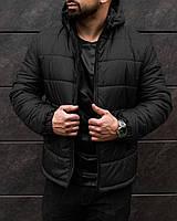 Мужская зимняя куртка Gang черная до - 25*С теплая   Пуховик мужской зимний на флисе с капюшоном