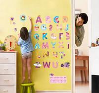 """Декоративная интерьерная наклейка в детскую """"Английский алфавит с Май Литл Пони My Little Pony"""""""