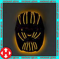 """Распродажа! Детская светодиодная маска злодея на Halloween """"Танос"""" жёлтая, светящаяся карнавальная маска, фото 1"""