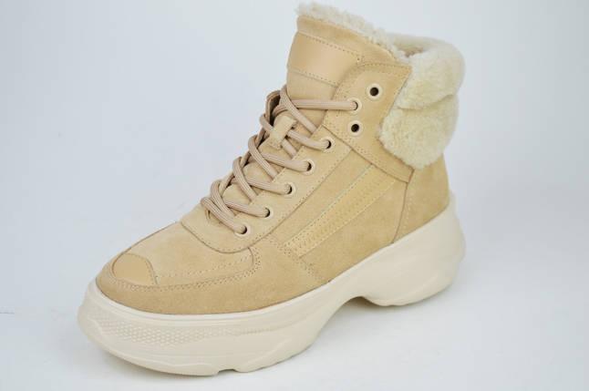 Ботинки бежевые Berkonty 5068 замша мех, фото 2