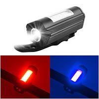 Фонарь велосипедный 303C-XPE+red/blue мигалка, ЗУ micro USB, встроенный аккумулятор, фото 1
