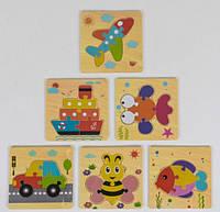 Пазлы для детей деревянные Цветной микс, 5 деталей, 6 видов