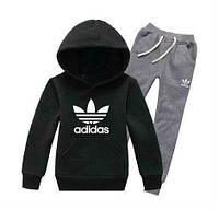 Спортивный костюм Адидас, мужской костюм Adidas, черная кофта, серые штаны, с капюшоном, трикотажный