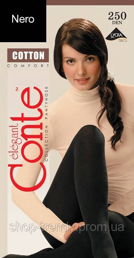 Матові колготки Cotton 250 Den Conte