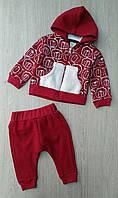 Костюм на мальчика Moes,3-6-9-12 мес, трехнить, на молнии, меховой карман, бордовый