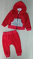 Костюм на мальчика Moes,3-6-9-12 мес, трехнить, на молнии, меховой карман, красный