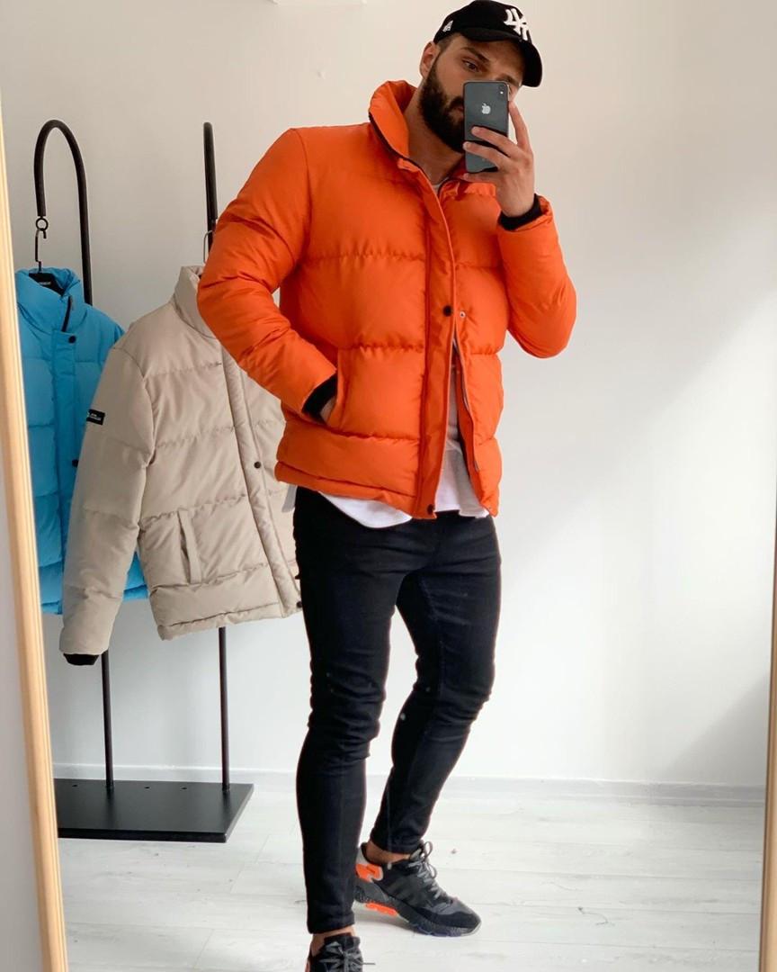 Мужская зимняя куртка оранжевая стеганая пуховик