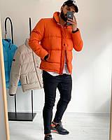 Мужская зимняя куртка оранжевая стеганая пуховик, фото 1