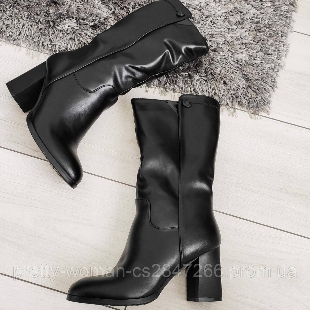 Напівчоботи жіночі зимові екошкіра на каблуку чорні