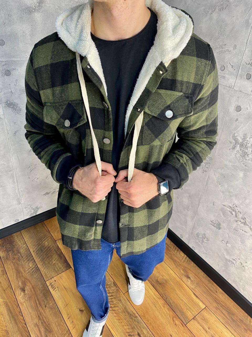 Тепла куртка чоловіча сорочка в клітку DNM 0103 khaki