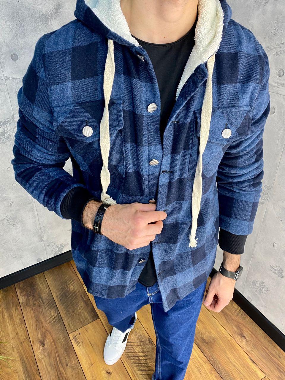 Тепла куртка чоловіча сорочка в клітку DNM 0103 blue
