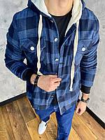 Тепла куртка чоловіча сорочка в клітку DNM 0103 blue, фото 1