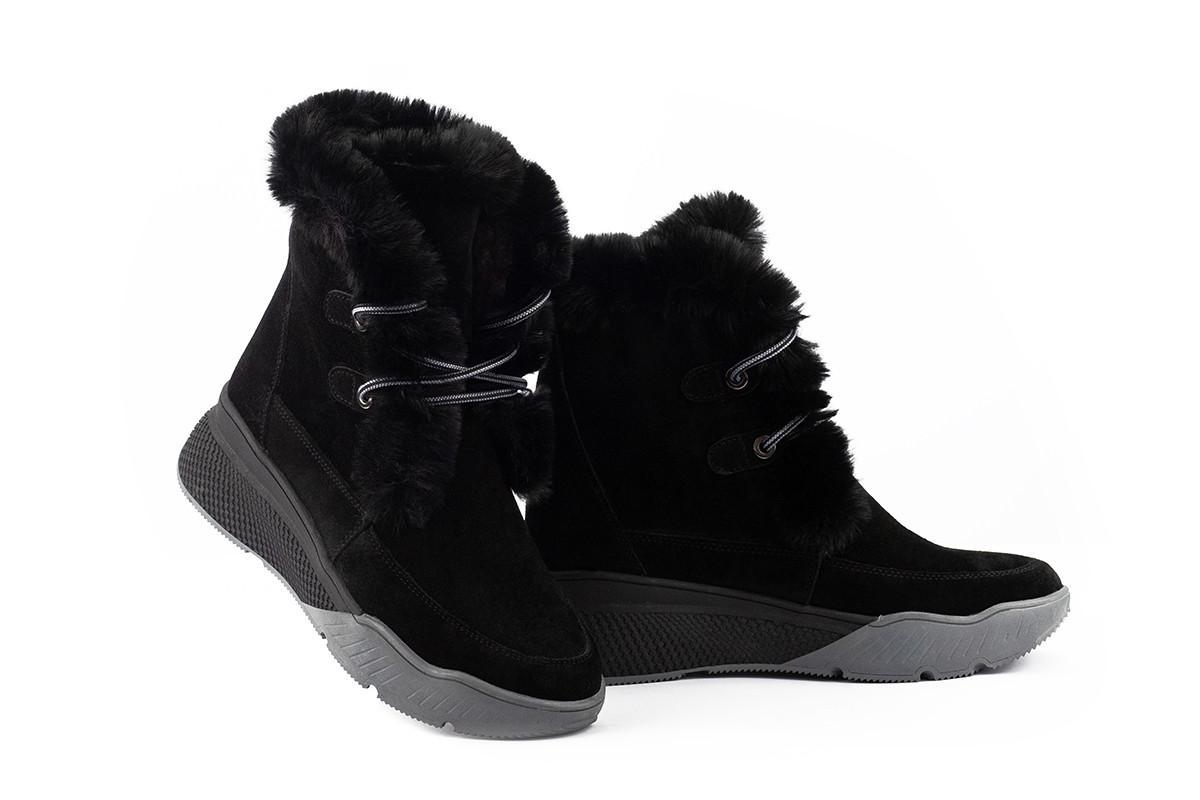 Женские ботинки замшевые зимние черные