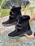 Женские ботинки замшевые зимние черные, фото 5