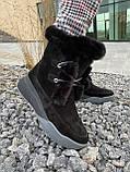 Женские ботинки замшевые зимние черные, фото 6